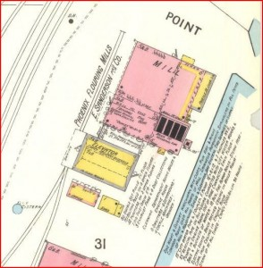 Sanderson Mill as it appeared on the 1894 Sanborn Insurance Map