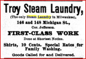 Troy Steam Laundry Milwaukee owned by John E. Pierce and F.C. Rice